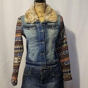 Wallflower knit sleeve denim jackets.